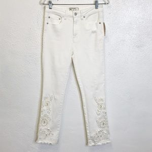Free People White Embroidered Skinny Jeans Size 27